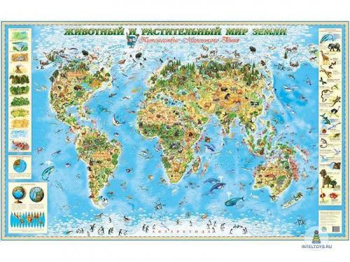 Детская карта «Животный и растительный мир Земли»