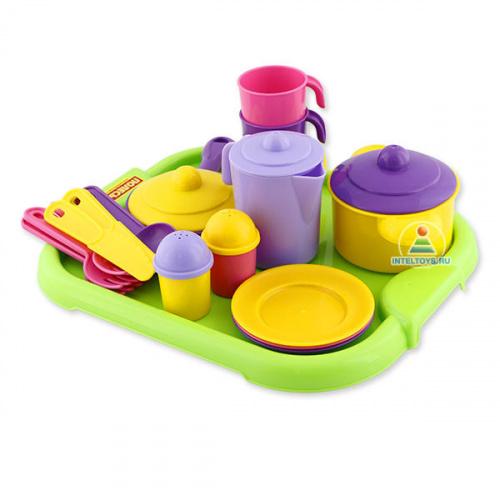 Игрушечная посуда для детей «Настенька», на 3 персоны с подносом, Полесье