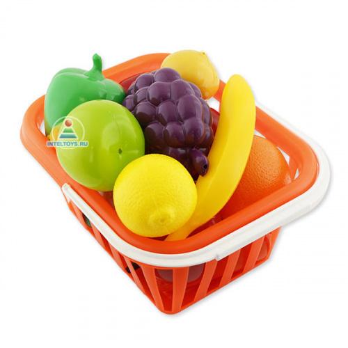 Игровой набор «Фрукты и овощи» в корзине (15 предметов)
