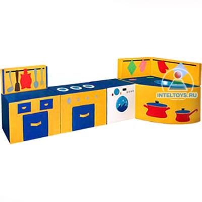 Детская игровая кухня (газовая плита, стол, стиральная машина, мойка)