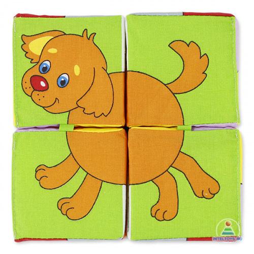 Кубики с перемычкой «Собери картинку – Домашние животные» (Мякиши)
