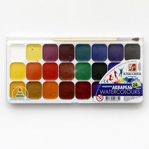 Акварель медовая 24 цвета с кистью