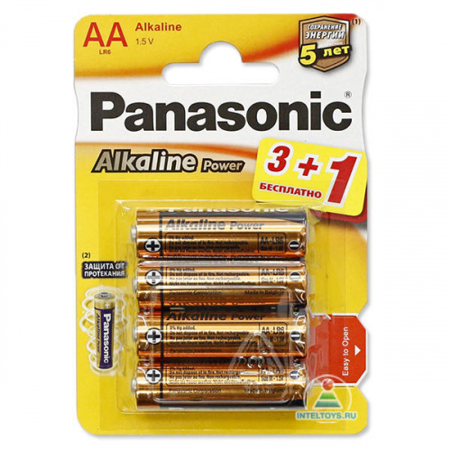Щелочные батарейки LR6 (AA) Alkaline, Panasonic/Navigator, 4 шт, Панасоник