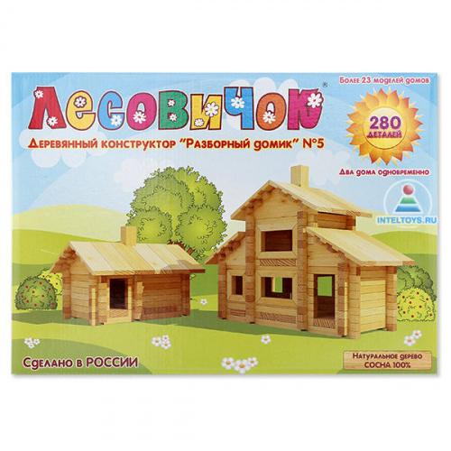 Деревянный конструктор Лесовичок «Разборный домик» №5 (280 деталей)