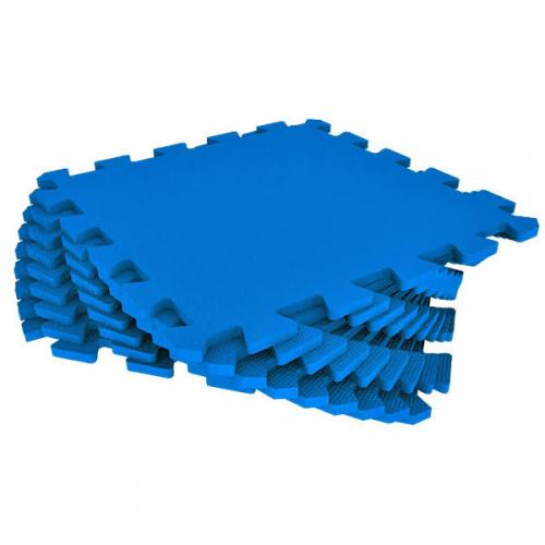Модульный мягкий пол-пазл универсальный Eco Cover (Эко Ковер), 33х33 см (синий)