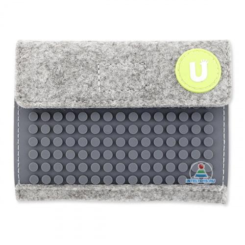 Пиксельный кошелек серый Pixel felt, Upixel (Юпиксель)