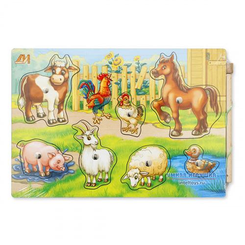 Пазл на магнитах «Чей малыш? – Домашние животные», Деревянные игрушки