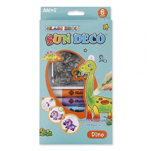 Краски для витража с мини-трафаретами «Динозавры». AMOS (Амос)