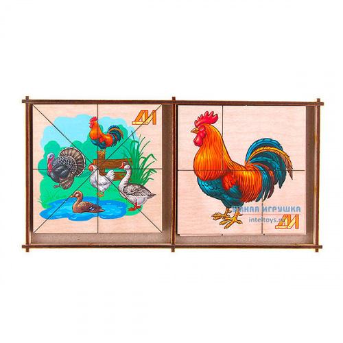 Дидактическая игра «Сложи картинку – Птицы на ферме», Деревянные игрушки
