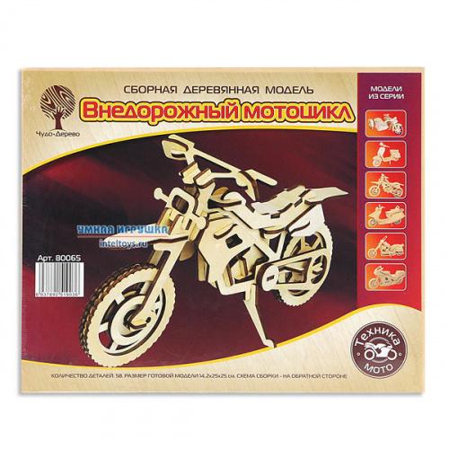 Деревянная модель для сборки «Внедорожный мотоцикл», Чудо Дерево