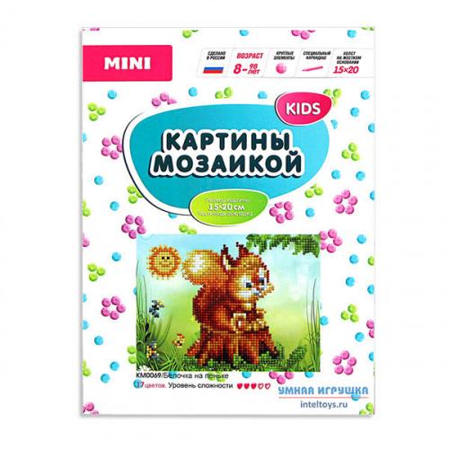 Мини-картина мозаикой Molly «KIDS – Белочка на пеньке», Молли