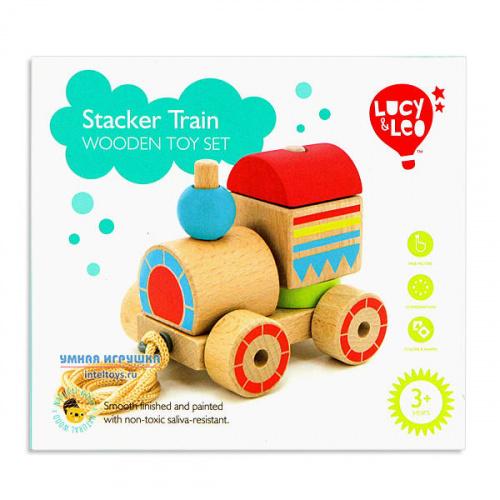Деревянная игрушка «Паровозик-пирамидка», Lucy&Leo (Люси энд Лео)