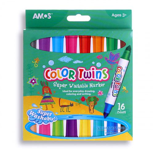 Двусторонние маркеры для детей «Малыши» (16 цветов), AMOS (Амос)