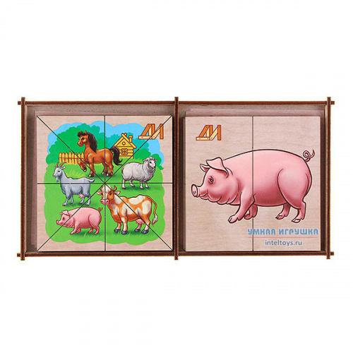Дидактическая игра «Сложи картинку – Домашние животные», Деревянные игрушки