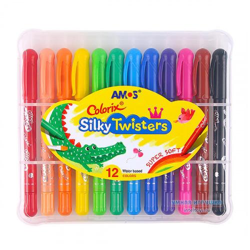 Цветные карандаши «Твистеры» 3 в 1, 12 цветов, Amos (Амос)