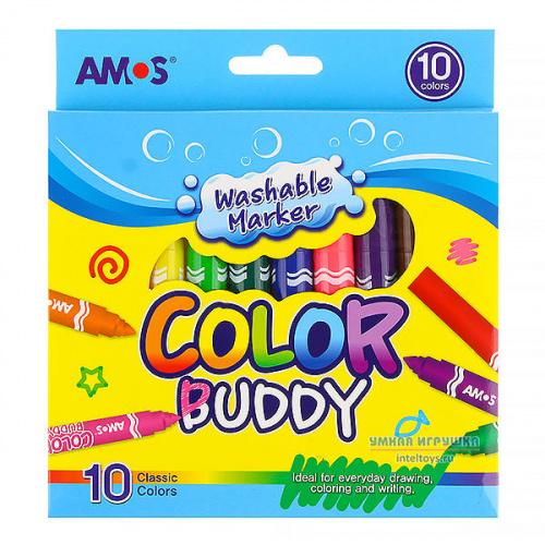 Смывающиеся маркеры AMOS «Малыш», 10 цветов, Амос
