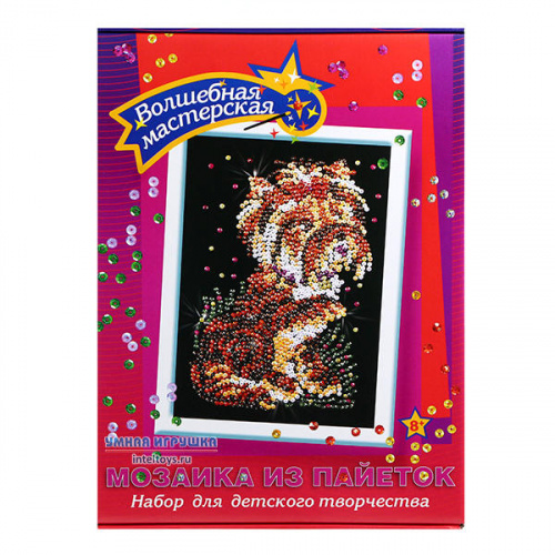 Мозаика «Терьер» из пайеток на холсте, Волшебная мастерская