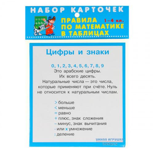 Карточки «Правила по математике», 1-4 классы