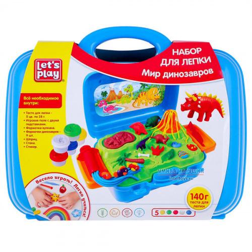 Набор для лепки «Мир динозавров» в кейсе, Let's Play