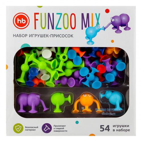 Конструктор-присоски Happy Baby «Funzoo Mix», Хэппи Бэби