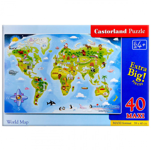 Макси-пазл «Карта мира», Castorland (Касторленд), 40 элементов