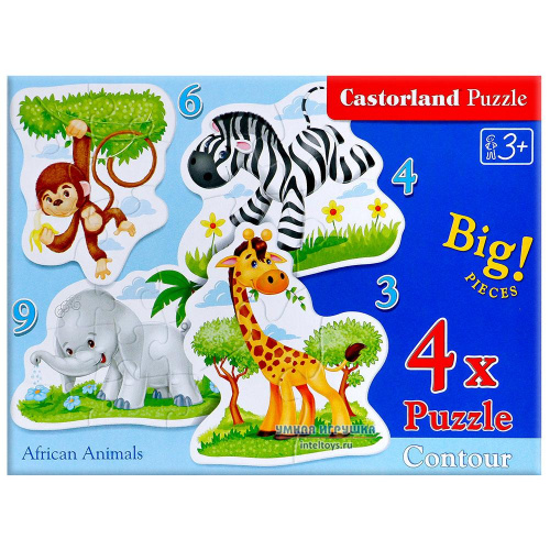 Пазл «Африканские животные» 4 в 1, Castorland (Касторленд)