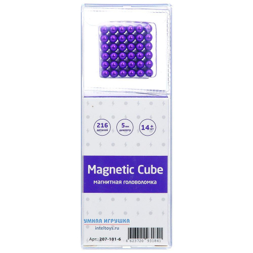 Магнитная головоломка Magnetic Cube (сиреневый), 216 деталей