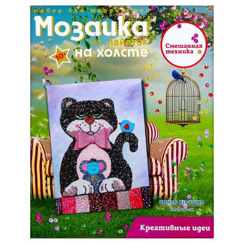 Мозаика «Кошки-мышки» из пайеток на холсте, Волшебная мастерская