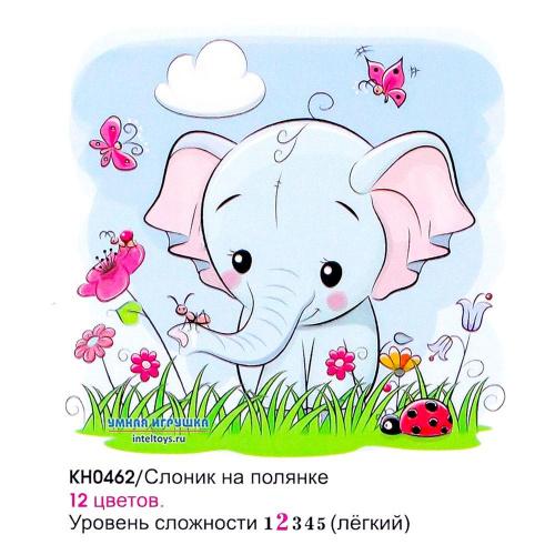 Картина «Слоник на полянке» по номерам на холсте, 20х20 см, Molly (Молли)