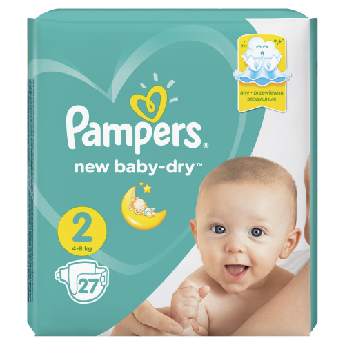 Подгузники Pampers New Baby Dry 2 (4-8 кг), 27 штук
