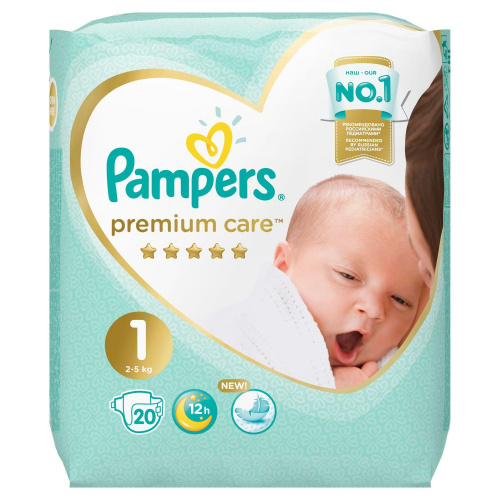 Подгузники Pampers Premium Care 1 (2-5 кг), 20 штук