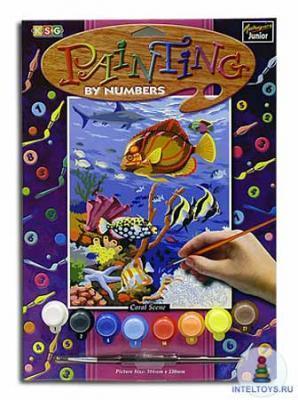 Картина по номерам с акриловыми красками «Подводный мир»