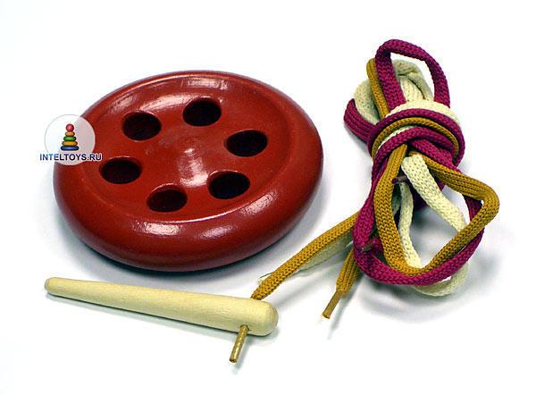 Шнуровка-пуговица 6-дырочная окрашенная, RNToys (РНТойс)