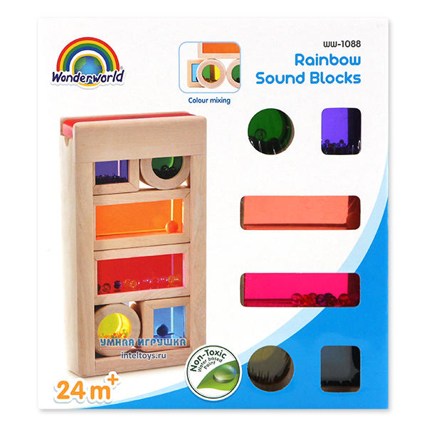 Кубики Wonderworld «Деревянные радужные блоки» со звуком