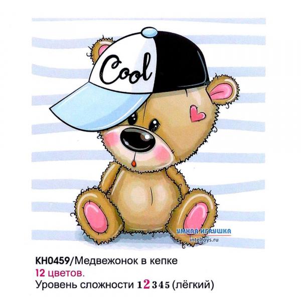 Картина «Медвежонок в кепке» по номерам на холсте, 20х20 см, Molly (Молли)